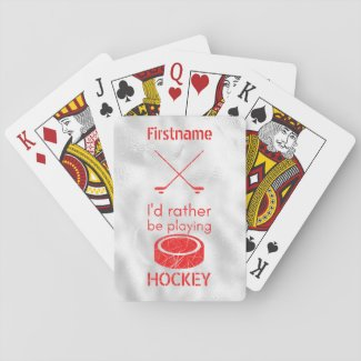 Rather be playing - red ice hockey playing cards