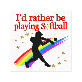 RATHER BE PLAYING SOFTBALL CANVAS PRINT