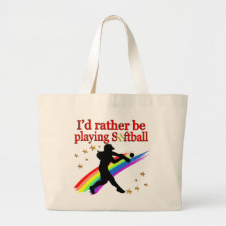 RATHER BE PLAYING SOFTBALL LARGE TOTE BAG