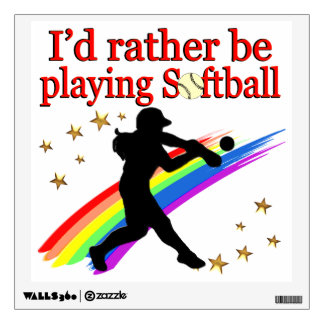 RATHER BE PLAYING SOFTBALL WALL STICKER