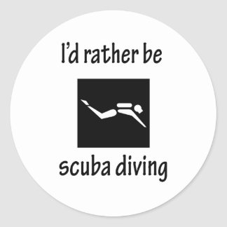 Rather Be Scuba Diving Classic Round Sticker