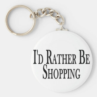 Rather Be Shopping Basic Round Button Keychain