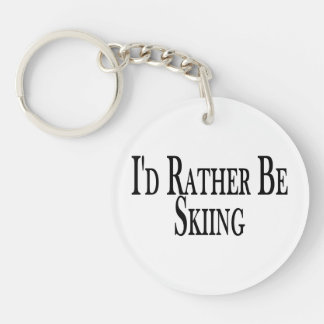 Rather Be Skiing Double-Sided Round Acrylic Keychain
