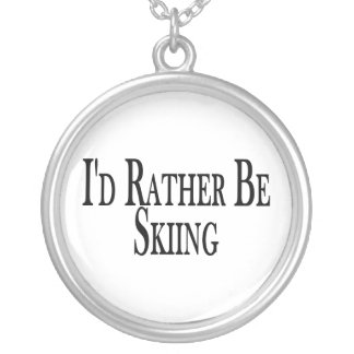 Rather Be Skiing Silver Plated Necklace