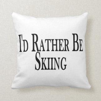 Rather Be Skiing Throw Pillow