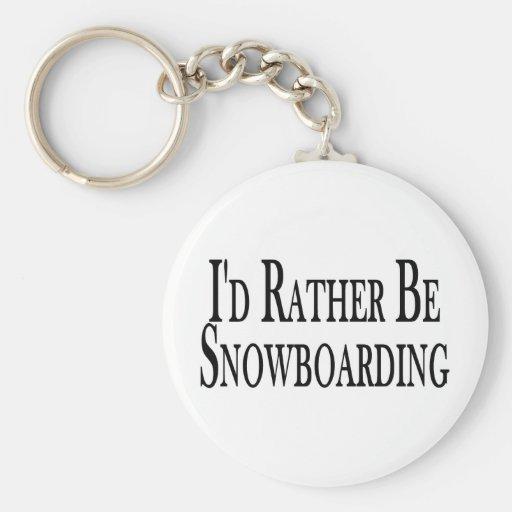 Rather Be Snowboarding Basic Round Button Keychain