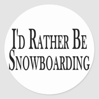 Rather Be Snowboarding Classic Round Sticker