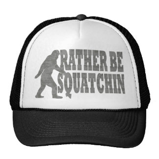 Rather be squatchin, black camouflage mesh hats