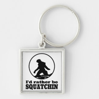 Rather Be Squatchin Silver-Colored Square Keychain