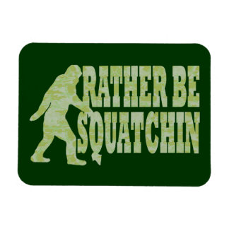 Rather be squatchin on green camouflage rectangular photo magnet