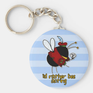 rather bee acting basic round button keychain