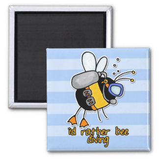 rather bee diving 2 inch square magnet