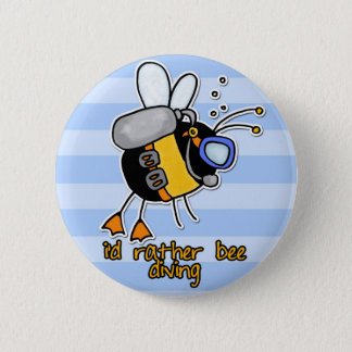 rather bee diving pinback button