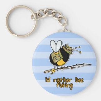 rather bee fishing basic round button keychain