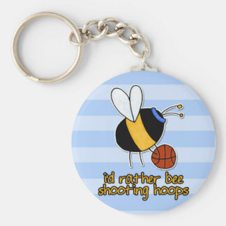rather bee shooting hoops basic round button keychain