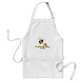 rather bee walking my dog adult apron