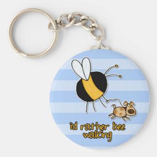 rather bee walking my dog basic round button keychain