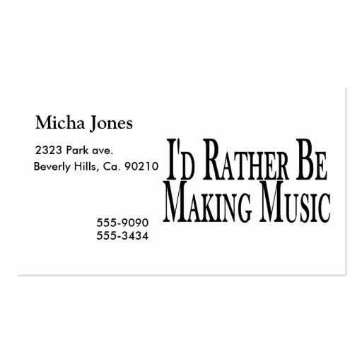 Rather Make Music Double-Sided Standard Business Cards (Pack Of 100)