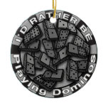 Rather Play Dominoes Ceramic Ornament