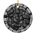 Rather Play Dominos Ceramic Ornament