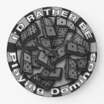 Rather Play Dominos Large Clock