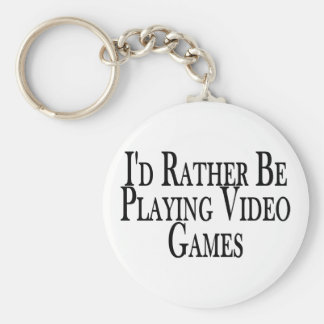 Rather Play Video Games Basic Round Button Keychain