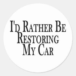 Rather Restore Car Classic Round Sticker