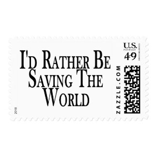 Rather Save The World Postage Stamp