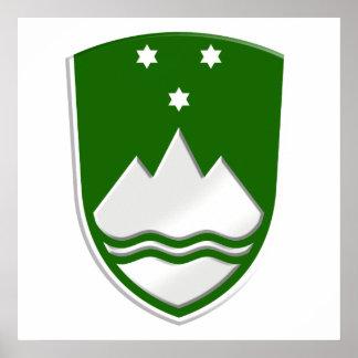 Rather stylish new Slovenija green soccer badge Posters