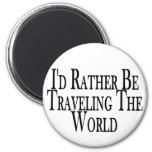 Rather Travel The World 2 Inch Round Magnet