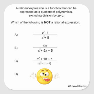 Rational Expression Square Sticker