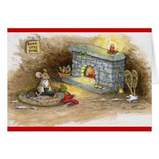 Ratón acogedor casero de la Hogar-Raqueta Tarjeta De Felicitación