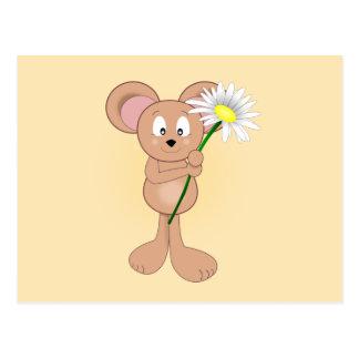 Ratón adorable con la margarita postal