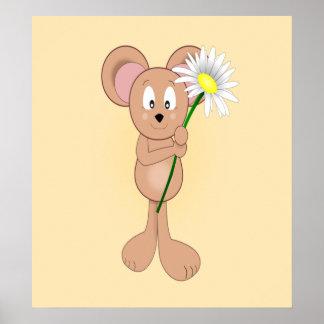 Ratón adorable del dibujo animado que sostiene la  posters