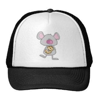 ratón adorable lindo con las galletas del chocolat gorros