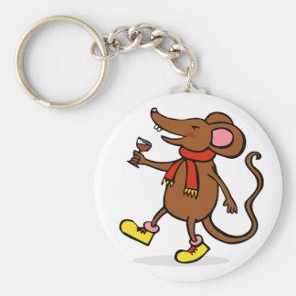 Ratón alegre llavero redondo tipo pin