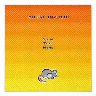 "Ratón amarillo-naranja invitación 5.25"" x 5.25"""