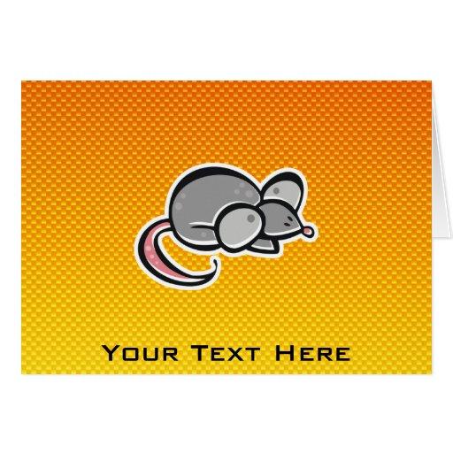 Ratón amarillo-naranja tarjeta de felicitación
