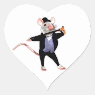 Ratón apuesto lindo, el ratón del dibujo animado pegatina en forma de corazón