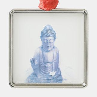 ratón blanco azul y minúsculo de Buda Adorno Navideño Cuadrado De Metal