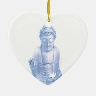 ratón blanco azul y minúsculo de Buda Adorno Navideño De Cerámica En Forma De Corazón
