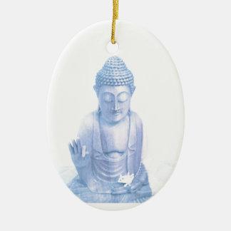 ratón blanco azul y minúsculo de Buda Adorno Navideño Ovalado De Cerámica