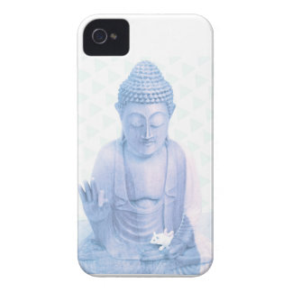 ratón blanco azul y minúsculo de Buda iPhone 4 Case-Mate Fundas
