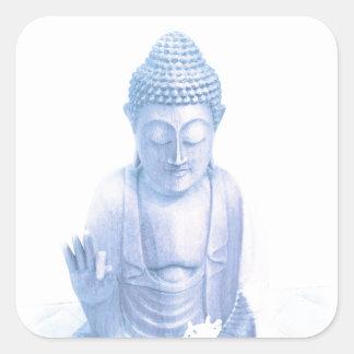 ratón blanco azul y minúsculo de Buda Pegatina Cuadrada