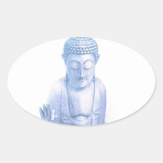 ratón blanco azul y minúsculo de Buda Pegatina Ovalada