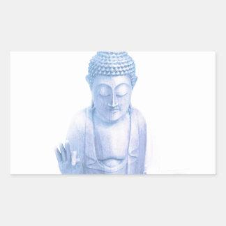 ratón blanco azul y minúsculo de Buda Pegatina Rectangular