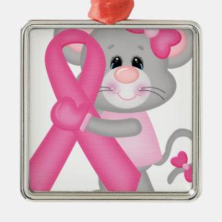 Ratón-cáncer-surviver de Think Pink - cinta Adorno Navideño Cuadrado De Metal