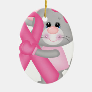 Ratón-cáncer-surviver de Think Pink - cinta Adorno Navideño Ovalado De Cerámica