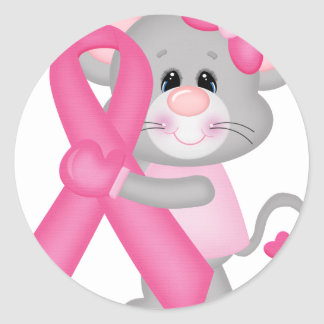 Ratón-cáncer-surviver de Think Pink - cinta Pegatina Redonda