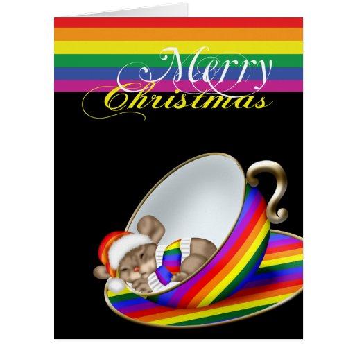 Ratón caprichoso de la taza de té del navidad del  felicitacion